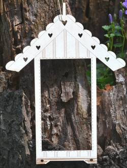 Knopf, Holzknopf TCE1 - Rahmen `Beach Cabin` Haus cream beige