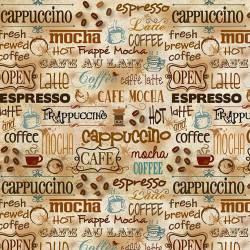 Patchworkstoff Stoff Quilt `Caffe Latte` Schrift