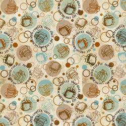 Patchworkstoff Stoff Quilt `Caffe Latte` Tassen