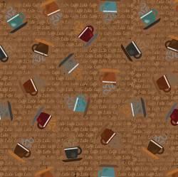 Patchworkstoff Stoff Quilt `Caffe Latte` Schrift und Tassen