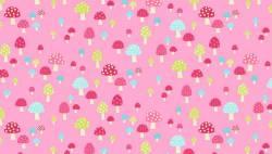 Patchworkstoff Quilt Stoff Flos Garden pink Pilze