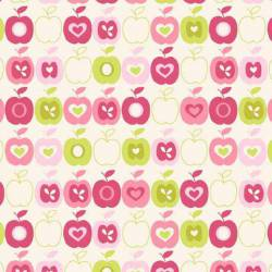 Patchworkstoff Quilt Stoff Flos Garden APPLES kiwi pink Apfel Äpfel