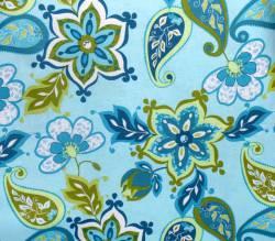 Patchworkstoff Quilt Stoff Splendor blau grün türkis Paisleys auf hellblau