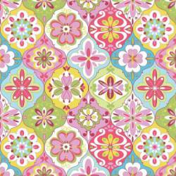 Patchworkstoff Quilt Stoff Splendor Rauten Muster blau pink gelb grün