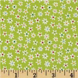 Patchworkstoff Stoff Quilt weisse Blumen auf grün