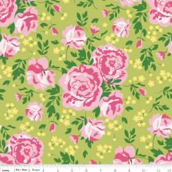 Patchworkstoff Quilt Stoff Primrose Garden Rosen auf grün