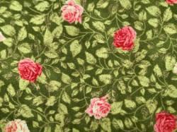 Patchworkstoff Quilt Stoff Rosies Garden Kleine Rosen auf grün