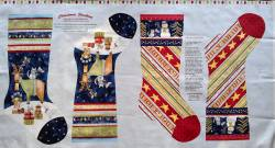 Patchworkstoff Stoff Panel Quilt Joy Love Peace Noel Stockings Stiefel