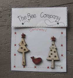Knopf, Holzknopf  Weihnachten TBN2 - 2 Weihnachtsbäume, 1 Vogel