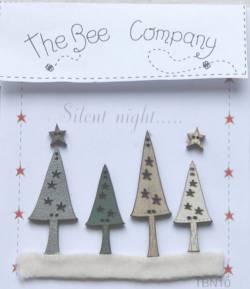 Knopf, Holzknopf  Weihnachten TBN10 vier Bäume