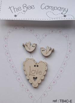 Knopf, Holzknopf TB4C-E 1 Herz Love, 2 Vögel beige