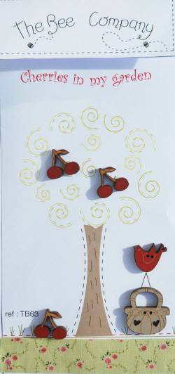 Knopf, Holzknopf TB63 1 Korb, 1 Vogel, 3 Kirschen
