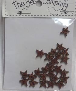 Knopf, Holzknopf TE3 kleine Sterne rot 25 Stück