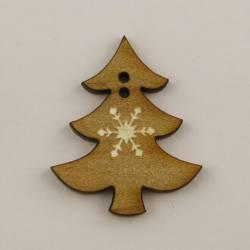 Knopf, Holzknopf Baum mit Stern