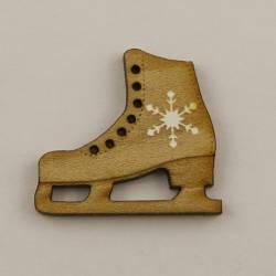 Knopf, Holzknopf Eislaufschuhe mit Stern