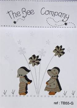 Knopf, Holzknopf TB55G - 2 Blumen 1 Sunbonnet Sue 1 Huckleberry Fin grau