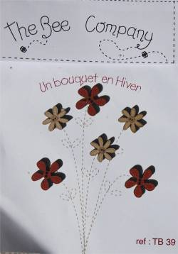 Knopf, Holzknopf TB39 - 6 Blumen `Winter Bunch`
