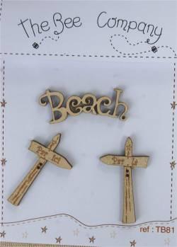 Knopf, Holzknopf TB81 - 2 Wegweiser, 1 Beach