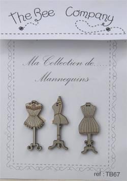 Knopf, Holzknopf TB67 3 Dressmaker (Büsten)
