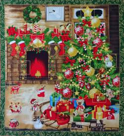 Patchworkstoff Stoff Quilt Panel Kamin Advent Kalender 60x112cm