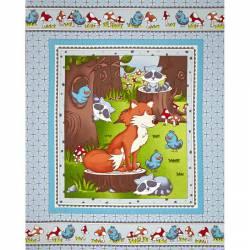 Patchworkstoff Quilt Stoff Panel Tierkinder Mr. Fox & Friends