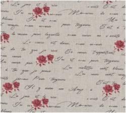 Patchworkstoff Quilt Stoff Shabby Chic burgundy Rosen und Schrift 55% Leinen