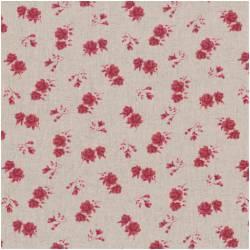 Patchworkstoff Quilt Stoff Shabby Chic burgundy Rosen 55% Leinen