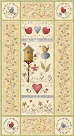 Patchworkstoff Quilt Stoff Among the flowers Panel 60cmx110cm
