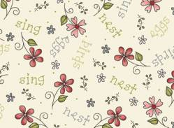 Patchworkstoff Quilt Stoff Among the flowers Blumen auf creme
