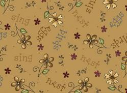 Patchworkstoff Quilt Stoff Among the flowers Blumen 4611-25860 TAN