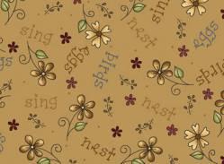 Patchworkstoff Quilt Stoff Among the flowers Blumen auf hellbraun