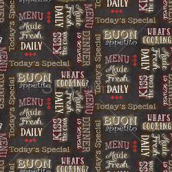 Patchworkstoff Quilt Stoff Buon Appetito Schrift