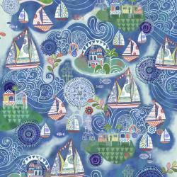 Patchworkstoff Quilt Stoff Ocean Dreamboat Scenic - Traum Boote Szenestoff