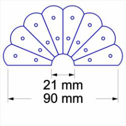 Schablone, Dresden plate with arc Bogen 90mm 16+1 Teile