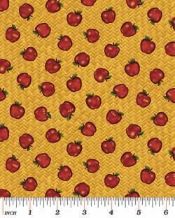 Patchworkstoff Quilt Stoff Folk Art dark gold apple basket Apfel