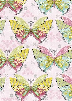 Patchworkstoff Quilt Stoff Boho Butterfly Schmetterlinge pink multi