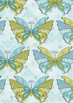 Patchworkstoff Quilt Stoff Boho Butterfly Schmetterlinge turquoise multi türkis