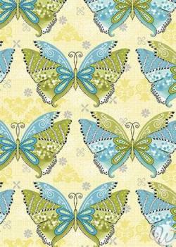 Patchworkstoff Quilt Stoff Boho Butterfly Schmetterlinge yellow multi gelb