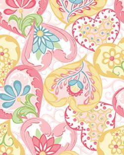 Patchworkstoff Quilt Stoff Heart to Heart pink white Herzen und Blumen