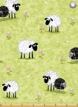 Patchworkstoff Quilt Stoff Panel `Lal the Lamb` Susybee Schafe auf der Wiese