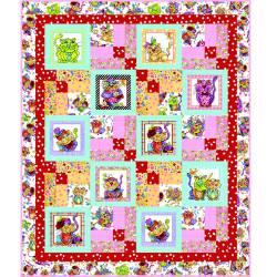 Kostenlose Nähanleitung Quilt`Happy Cats` Loralie Designs 50 x 60 Inch