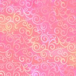 Patchworkstoff Quilt Stoff Ombre Scroll Kringel PINK