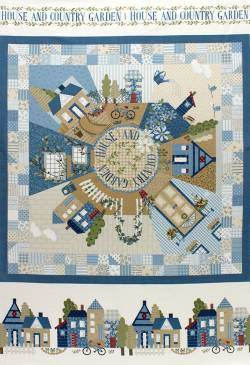 Patchworkstoff Quilt Stoff Panel `American Country`blau Lecien 75x110cm