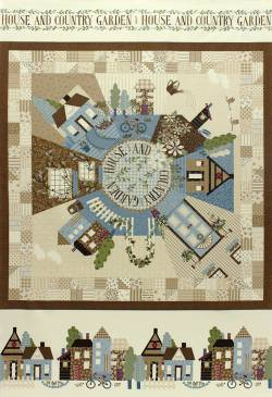 Patchworkstoff Quilt Stoff Panel `American Country`braun Lecien 75x110cm