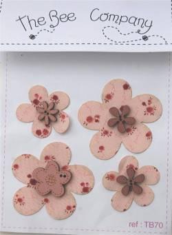Knopf, Holzknopf TB70 4 Blumen aus Holz und 4 aus Baumwollstoff