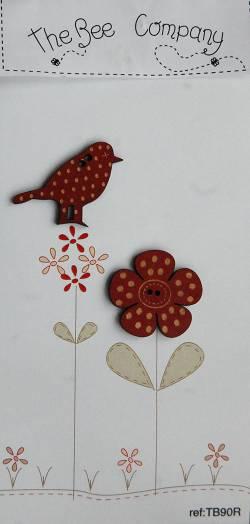 Knopf, Holzknopf TB90R 1 große Blume, 1 großer Vogel
