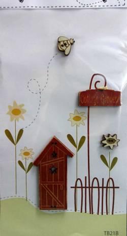 Knopf, Holzknopf TB21B - 1 Haus, 1 Biene, 1 Blume, 1 Schild Cottage Garden