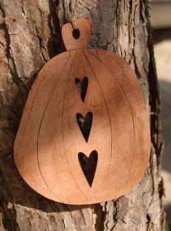 Holz Dekoration TBD10 `Kürbis` Dekorativer Aufhänger Pumpkin hellorange