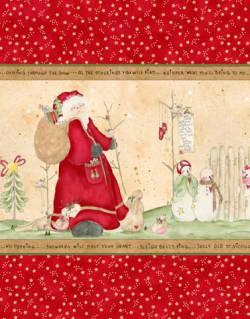 Patchworkstoff Quilt Stoff *Here comes Santa* Streifen 0,91m REST