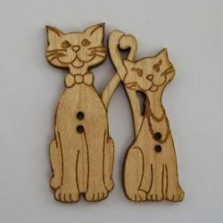 Knopf, Holzknopf Katze Katzenpaar m. Kette und Krawatte
